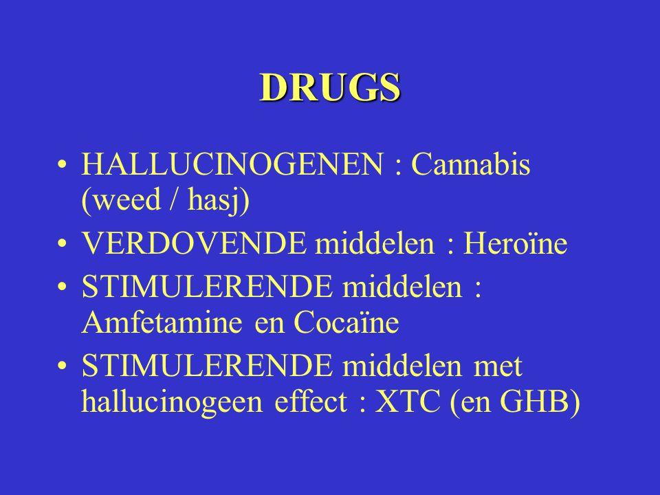 DRUGS HALLUCINOGENEN : Cannabis (weed / hasj) VERDOVENDE middelen : Heroïne STIMULERENDE middelen : Amfetamine en Cocaïne STIMULERENDE middelen met ha