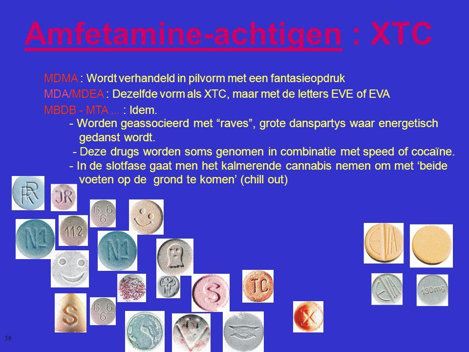Amfetamine-achtigen : XTC MDMA : Wordt verhandeld in pilvorm met een fantasieopdruk MDA/MDEA : Dezelfde vorm als XTC, maar met de letters EVE of EVA MBDB - MTA...