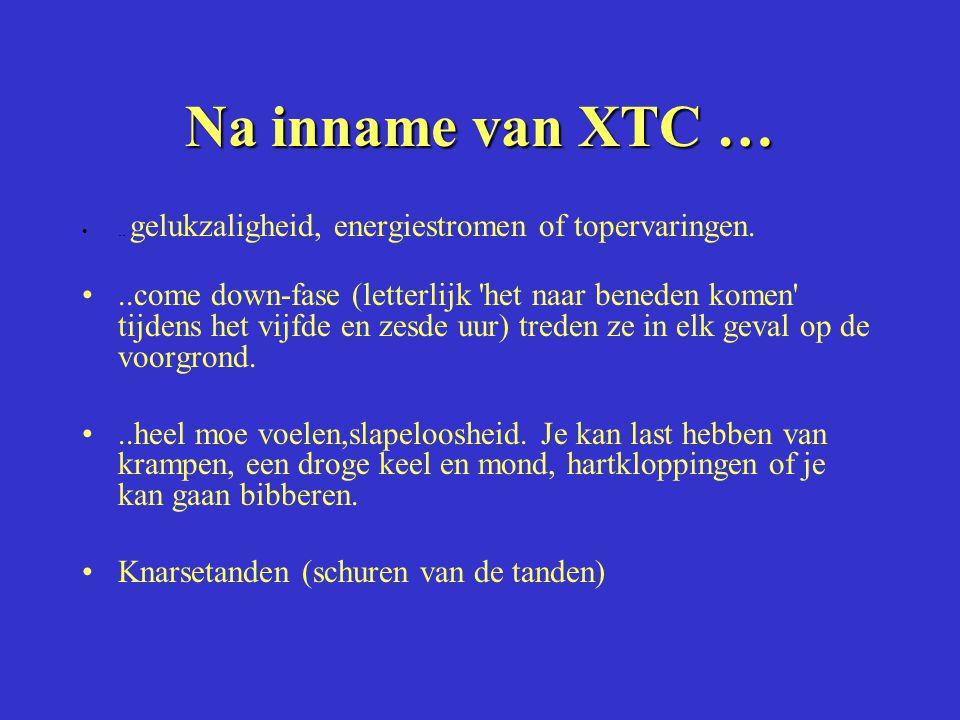 Na inname van XTC ….. gelukzaligheid, energiestromen of topervaringen...come down-fase (letterlijk 'het naar beneden komen' tijdens het vijfde en zesd