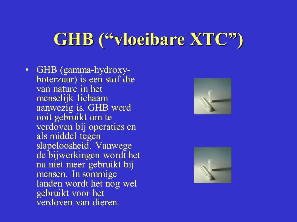 GHB ( vloeibare XTC ) GHB (gamma-hydroxy- boterzuur) is een stof die van nature in het menselijk lichaam aanwezig is.