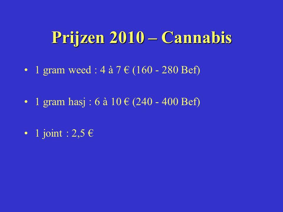 Prijzen 2010 – Cannabis 1 gram weed : 4 à 7 € (160 - 280 Bef) 1 gram hasj : 6 à 10 € (240 - 400 Bef) 1 joint : 2,5 €