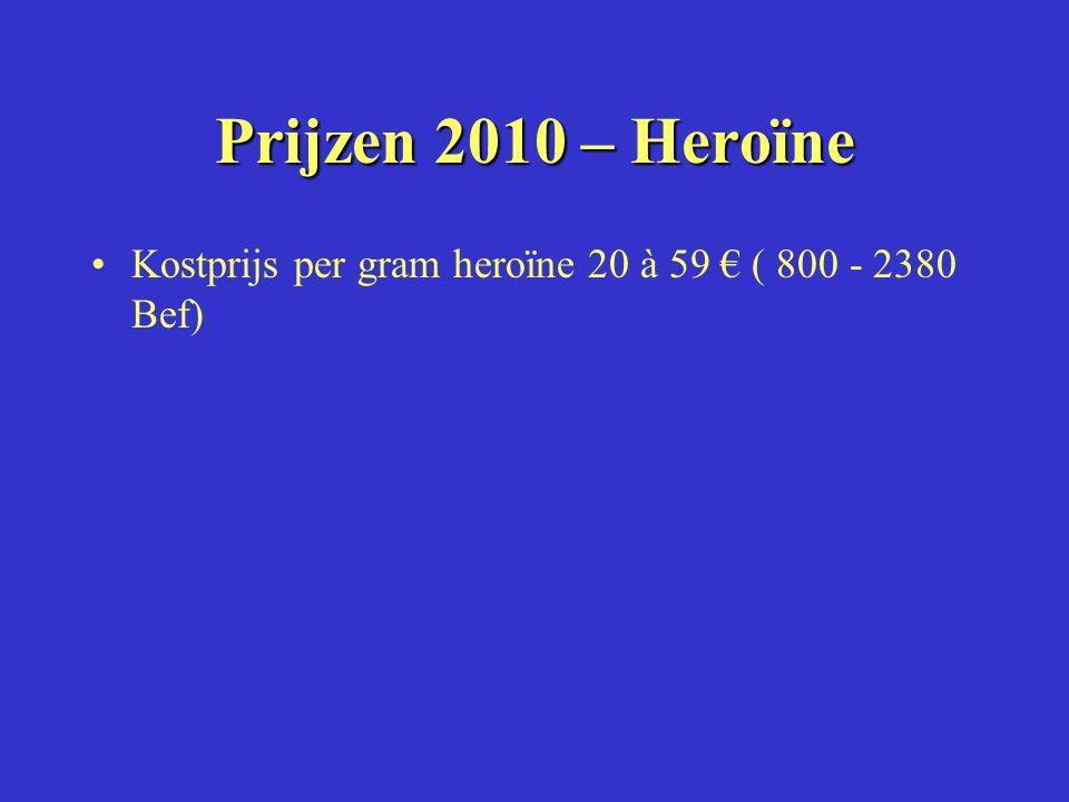 Prijzen 2010 – Heroïne Kostprijs per gram heroïne 20 à 59 € ( 800 - 2380 Bef)