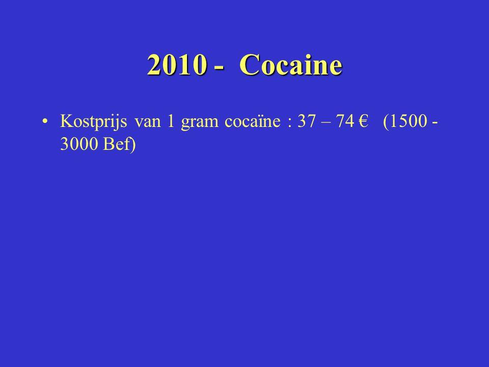 2010 -Cocaine 2010 - Cocaine Kostprijs van 1 gram cocaïne : 37 – 74 € (1500 - 3000 Bef)
