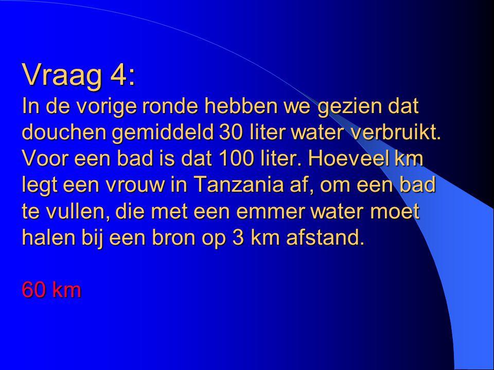 Vraag 4: In de vorige ronde hebben we gezien dat douchen gemiddeld 30 liter water verbruikt. Voor een bad is dat 100 liter. Hoeveel km legt een vrouw