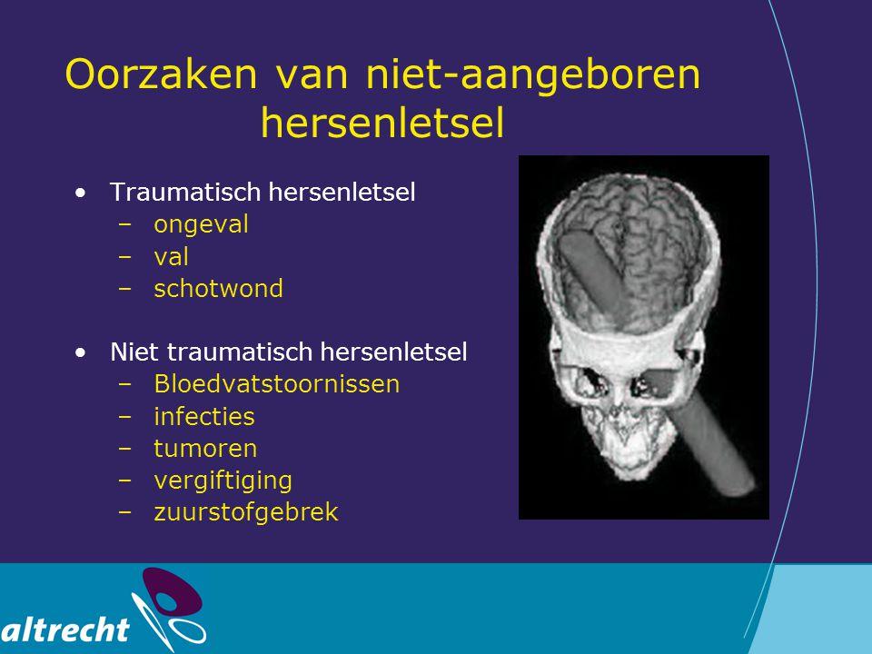 Oorzaken van niet-aangeboren hersenletsel Traumatisch hersenletsel –ongeval –val –schotwond Niet traumatisch hersenletsel –Bloedvatstoornissen –infect