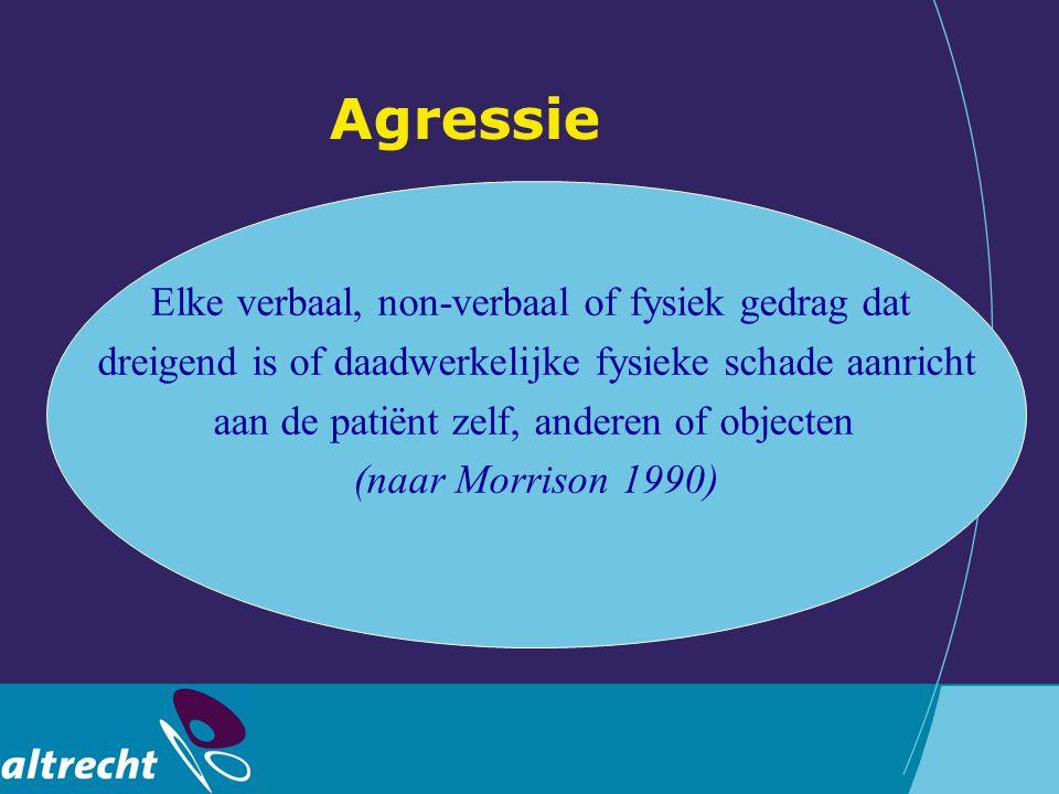 Agressie Elke verbaal, non-verbaal of fysiek gedrag dat dreigend is of daadwerkelijke fysieke schade aanricht aan de patiënt zelf, anderen of objecten