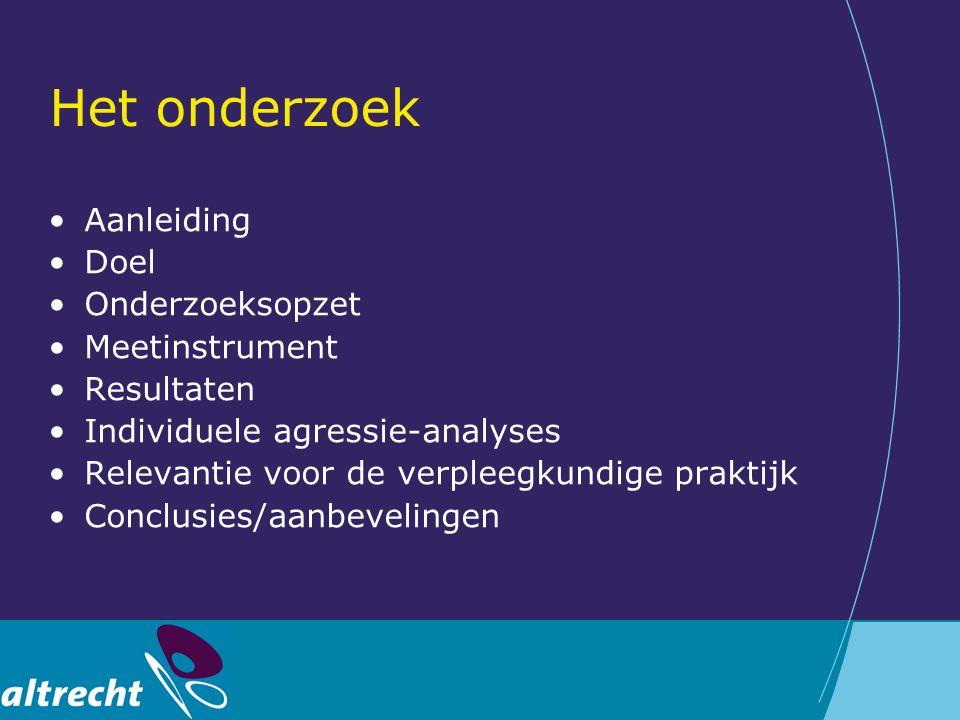 Het onderzoek Aanleiding Doel Onderzoeksopzet Meetinstrument Resultaten Individuele agressie-analyses Relevantie voor de verpleegkundige praktijk Conc
