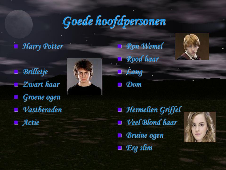 Goede hoofdpersonen Harry Potter Harry Potter Brilletje Brilletje Zwart haar Zwart haar Groene ogen Groene ogen Vastberaden Vastberaden Actie Actie Ro