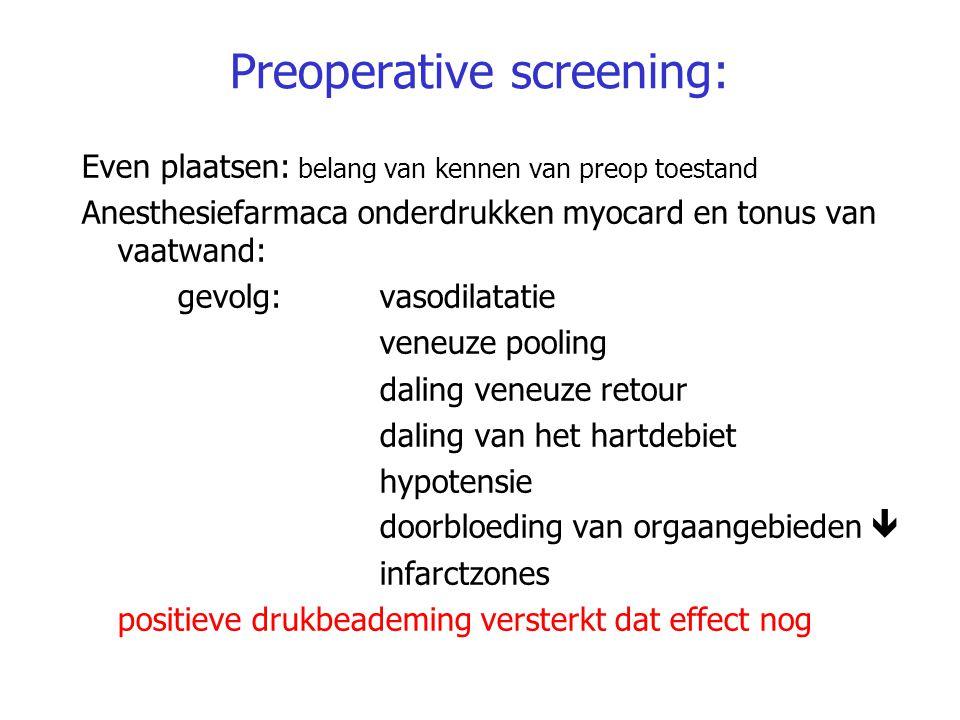 Preoperative screening: Even plaatsen: belang van kennen van preop toestand Anesthesiefarmaca onderdrukken myocard en tonus van vaatwand: gevolg: vaso