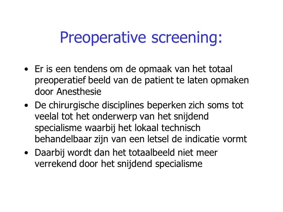Preoperative screening: Er is een tendens om de opmaak van het totaal preoperatief beeld van de patient te laten opmaken door Anesthesie De chirurgisc