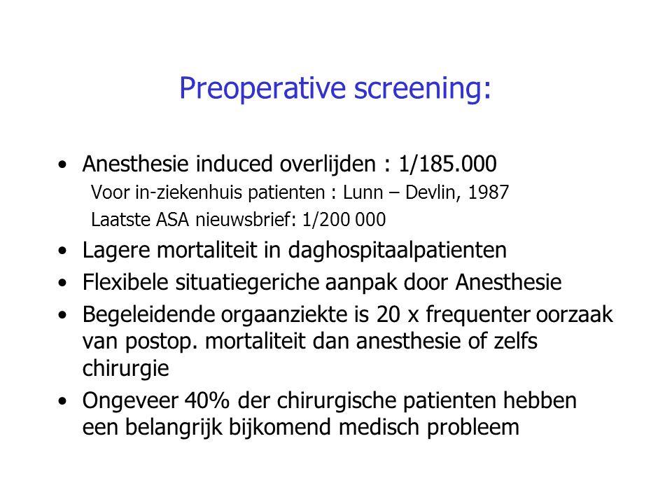 Preoperative screening: Anesthesie induced overlijden : 1/185.000 Voor in-ziekenhuis patienten : Lunn – Devlin, 1987 Laatste ASA nieuwsbrief: 1/200 00