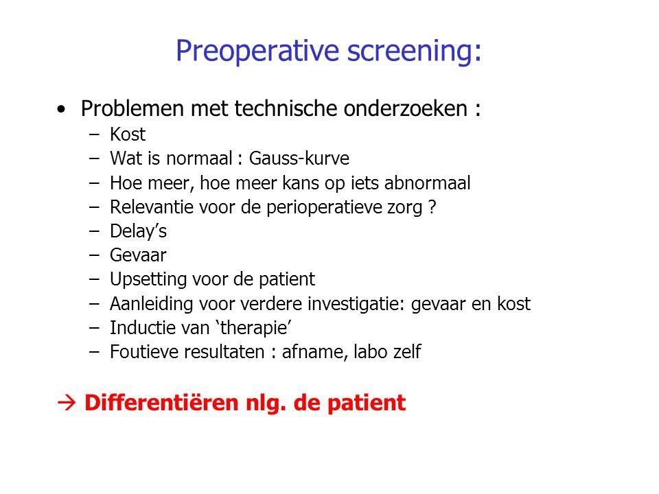 Preoperative screening: Problemen met technische onderzoeken : –Kost –Wat is normaal : Gauss-kurve –Hoe meer, hoe meer kans op iets abnormaal –Relevan