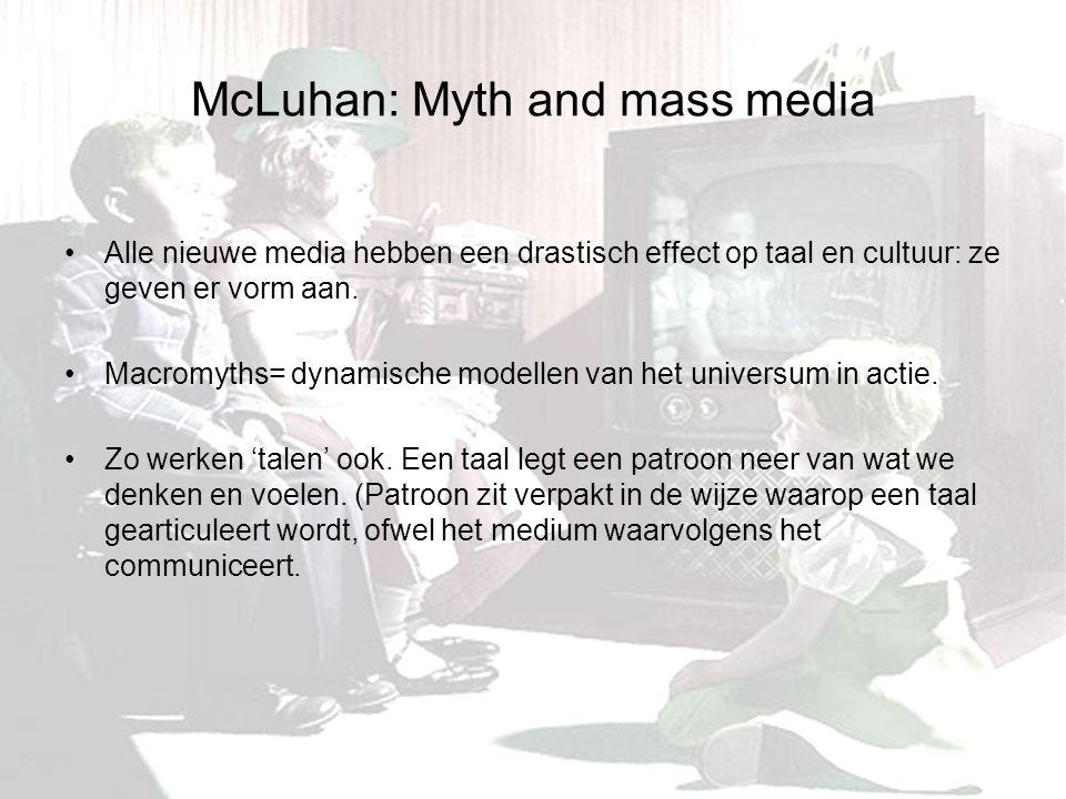 McLuhan: Myth and mass media Alle nieuwe media hebben een drastisch effect op taal en cultuur: ze geven er vorm aan.