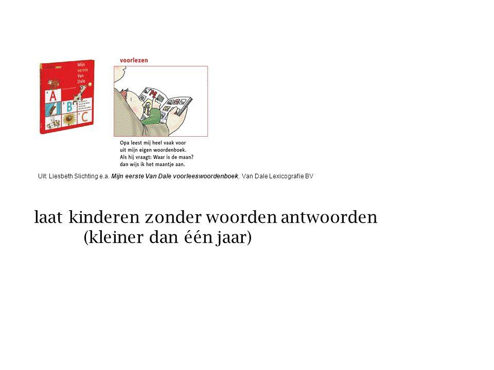 laat kinderen zonder woorden antwoorden (kleiner dan één jaar) Uit: Liesbeth Slichting e.a. Mijn eerste Van Dale voorleeswoordenboek, Van Dale Lexicog
