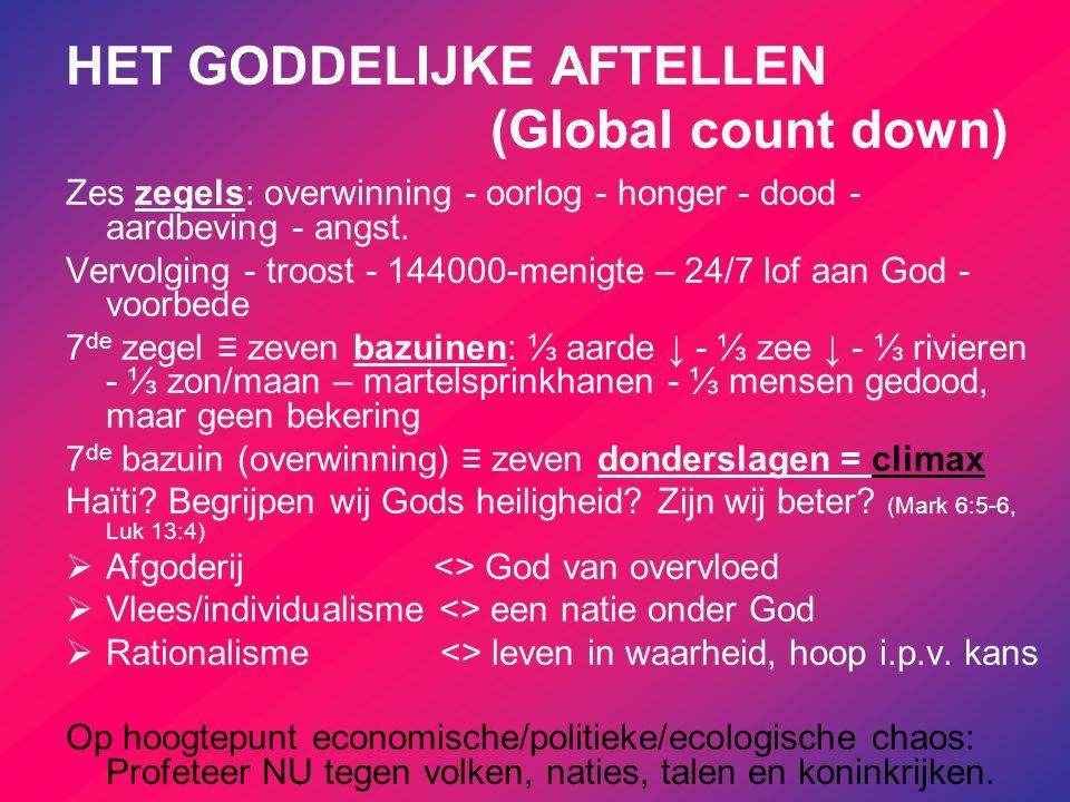 HET GODDELIJKE AFTELLEN (Global count down) Zes zegels: overwinning - oorlog - honger - dood - aardbeving - angst. Vervolging - troost - 144000-menigt