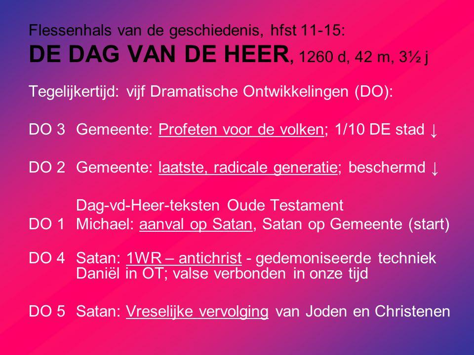 Flessenhals van de geschiedenis, hfst 11-15: DE DAG VAN DE HEER, 1260 d, 42 m, 3½ j Tegelijkertijd: vijf Dramatische Ontwikkelingen (DO): DO 3Gemeente