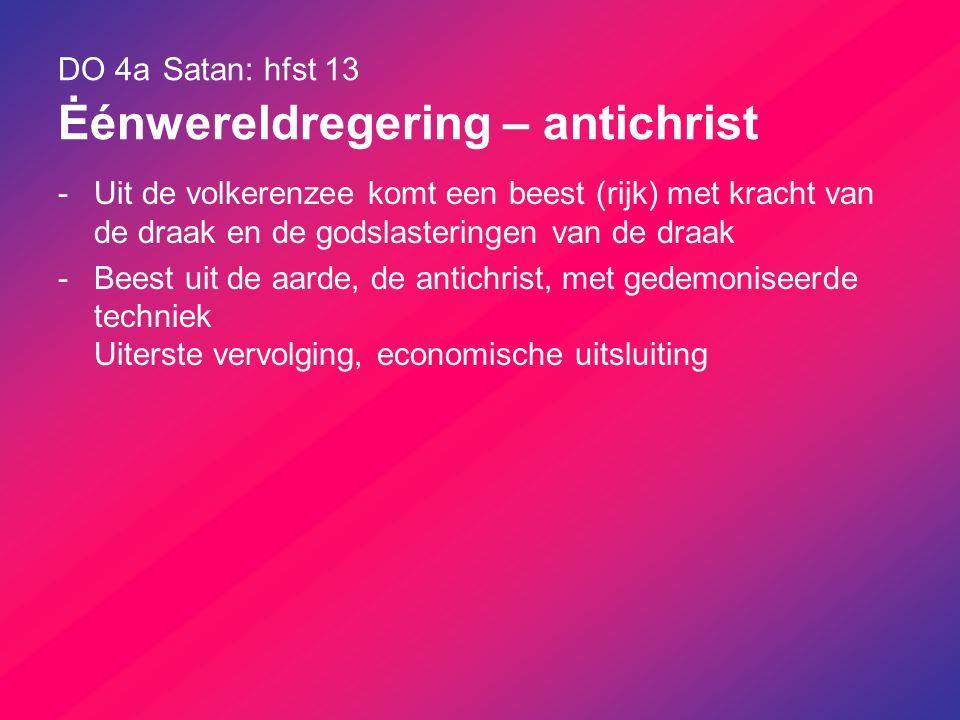 DO 4a Satan: hfst 13 Ėénwereldregering – antichrist -Uit de volkerenzee komt een beest (rijk) met kracht van de draak en de godslasteringen van de dra