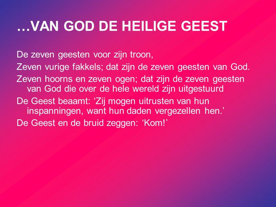 …VAN GOD DE HEILIGE GEEST De zeven geesten voor zijn troon, Zeven vurige fakkels; dat zijn de zeven geesten van God. Zeven hoorns en zeven ogen; dat z