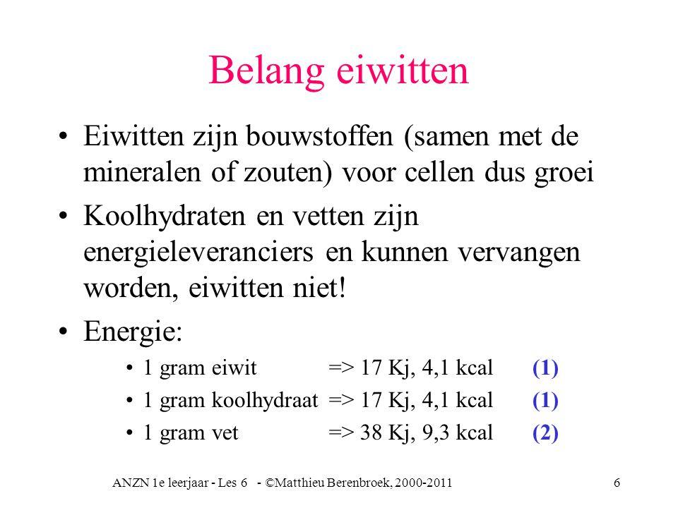 ANZN 1e leerjaar - Les 6 - ©Matthieu Berenbroek, 2000-20116 Belang eiwitten Eiwitten zijn bouwstoffen (samen met de mineralen of zouten) voor cellen d