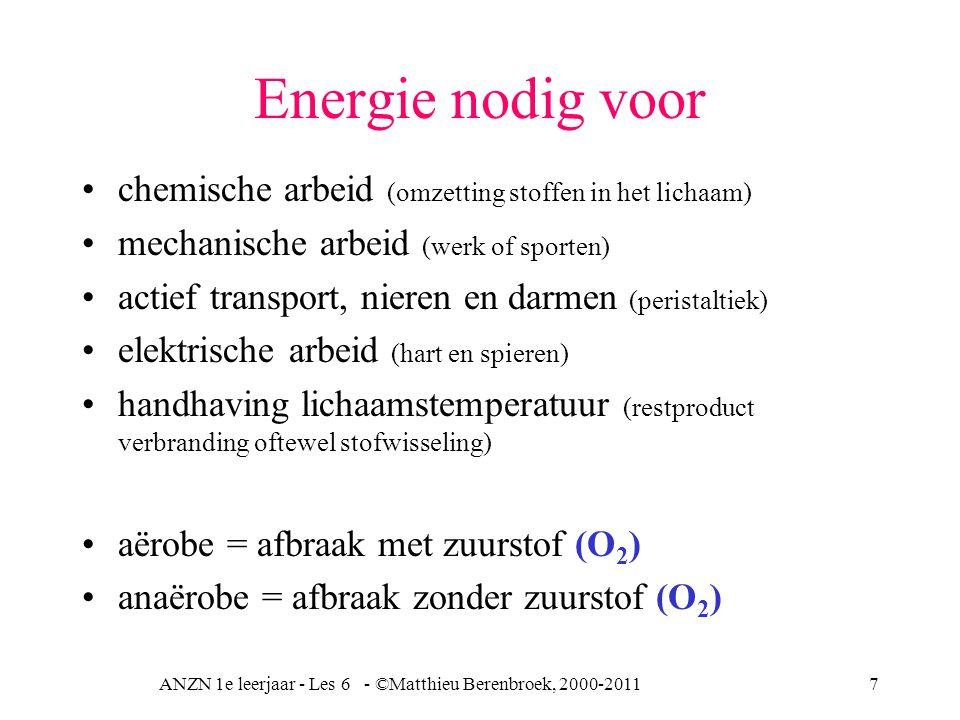 ANZN 1e leerjaar - Les 6 - ©Matthieu Berenbroek, 2000-20118 Verbranding H 2 O + CO 2 geeft H + + HCO 3 - dus verzuring, dus toename H +, dus lagere pH, richting acidose Koolhydraten Vetten Eiwitten Volledig Onvolledig CO 2 Ureum