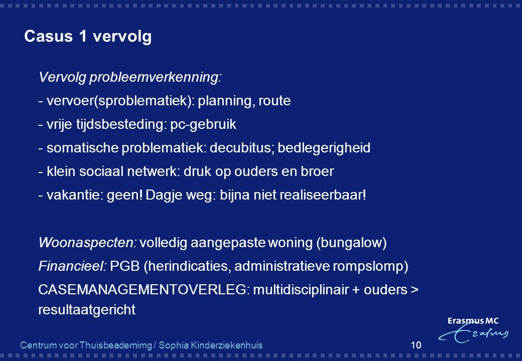 Centrum voor Thuisbeademimg / Sophia Kinderziekenhuis 10 Casus 1 vervolg  Vervolg probleemverkenning:  - vervoer(sproblematiek): planning, route  -