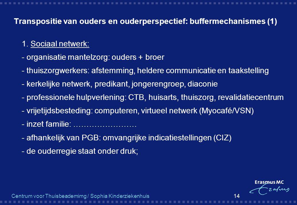 Centrum voor Thuisbeademimg / Sophia Kinderziekenhuis 14 Transpositie van ouders en ouderperspectief: buffermechanismes (1)  1. Sociaal netwerk:  -