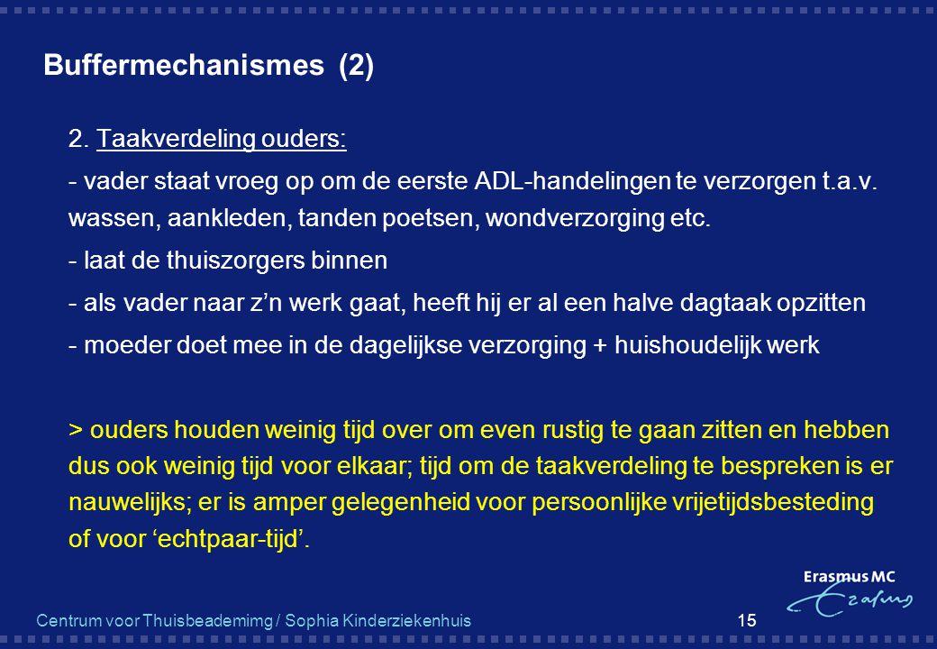 Centrum voor Thuisbeademimg / Sophia Kinderziekenhuis 15 Buffermechanismes (2)  2. Taakverdeling ouders:  - vader staat vroeg op om de eerste ADL-ha