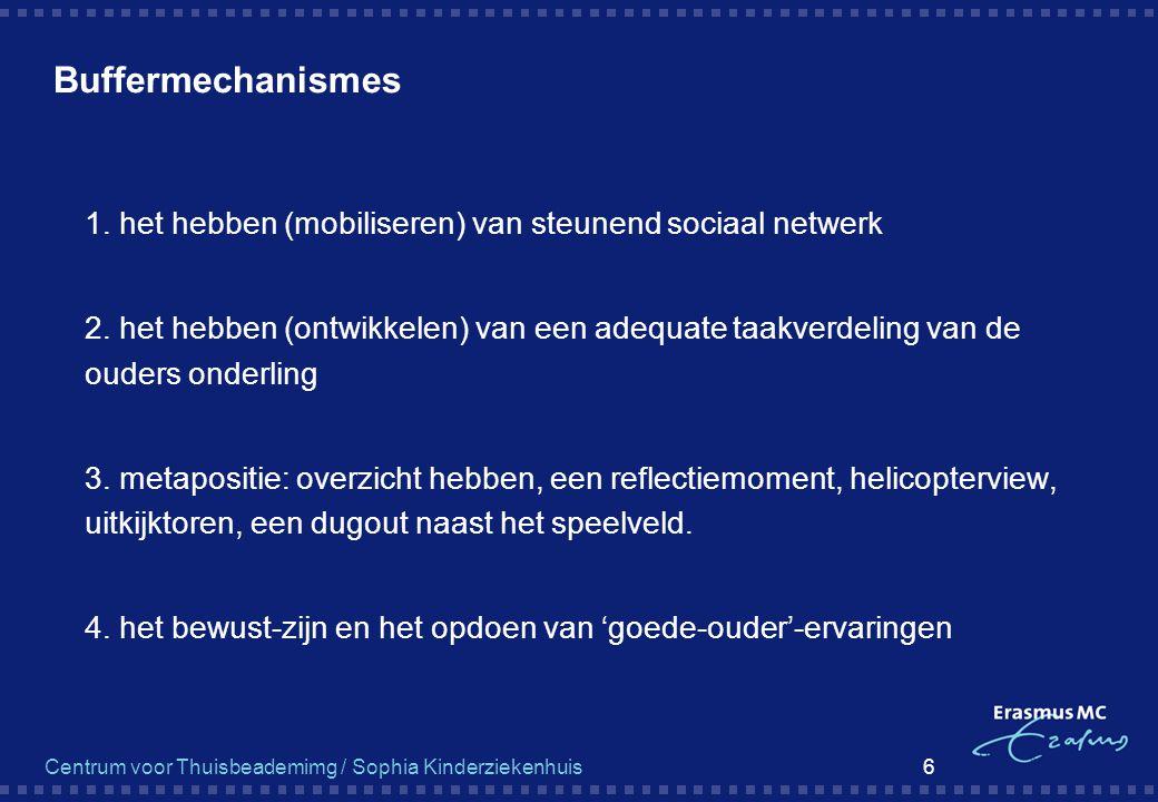 Centrum voor Thuisbeademimg / Sophia Kinderziekenhuis 6 Buffermechanismes  1. het hebben (mobiliseren) van steunend sociaal netwerk  2. het hebben (