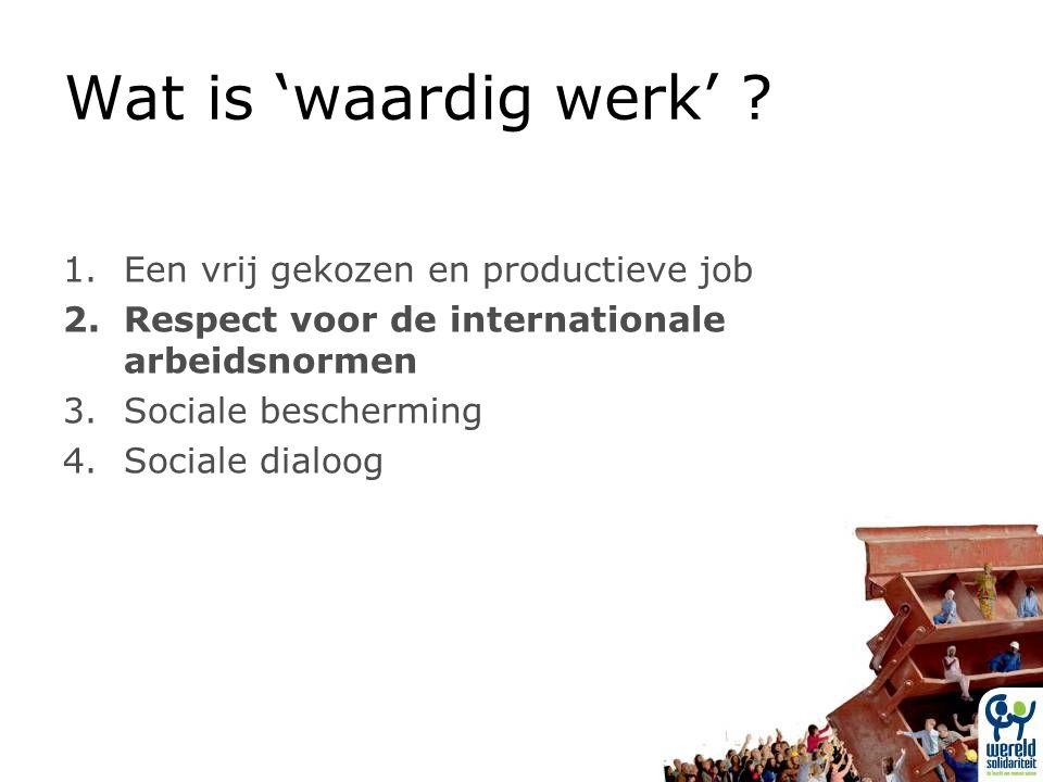 1.Een vrij gekozen en productieve job 2.Respect voor de internationale arbeidsnormen 3.Sociale bescherming 4.Sociale dialoog