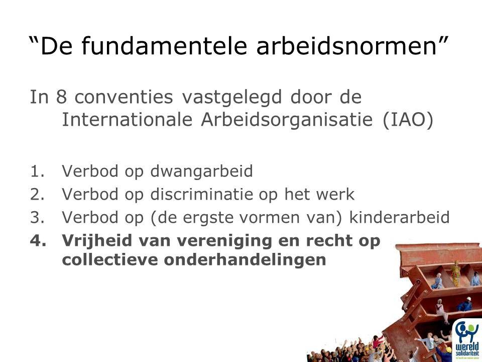 De fundamentele arbeidsnormen In 8 conventies vastgelegd door de Internationale Arbeidsorganisatie (IAO) 1.Verbod op dwangarbeid 2.Verbod op discriminatie op het werk 3.Verbod op (de ergste vormen van) kinderarbeid 4.Vrijheid van vereniging en recht op collectieve onderhandelingen