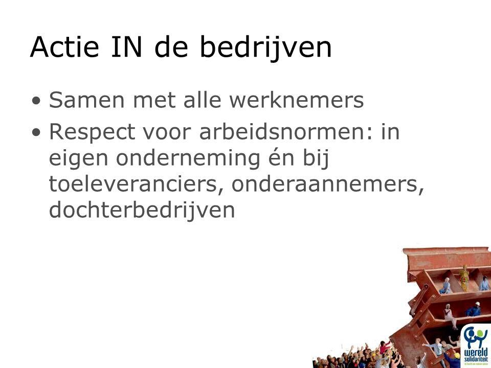 Actie IN de bedrijven Samen met alle werknemers Respect voor arbeidsnormen: in eigen onderneming én bij toeleveranciers, onderaannemers, dochterbedrijven