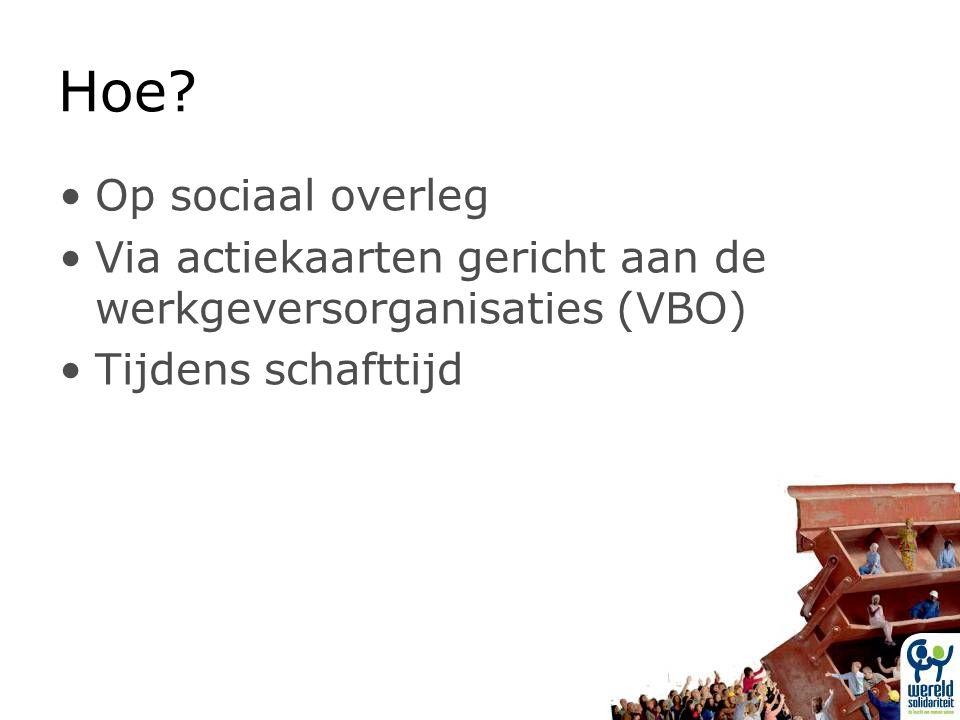 Hoe? Op sociaal overleg Via actiekaarten gericht aan de werkgeversorganisaties (VBO) Tijdens schafttijd