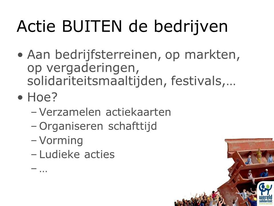 Actie BUITEN de bedrijven Aan bedrijfsterreinen, op markten, op vergaderingen, solidariteitsmaaltijden, festivals,… Hoe.