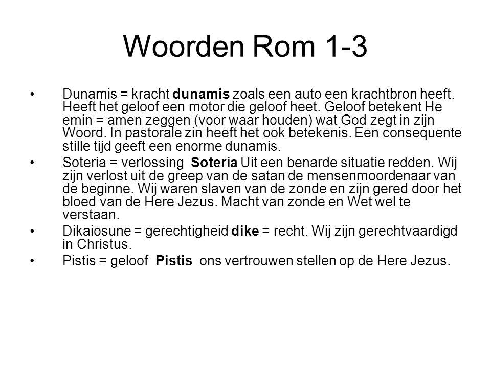 Woorden Rom 1-3 Dunamis = kracht dunamis zoals een auto een krachtbron heeft. Heeft het geloof een motor die geloof heet. Geloof betekent He emin = am
