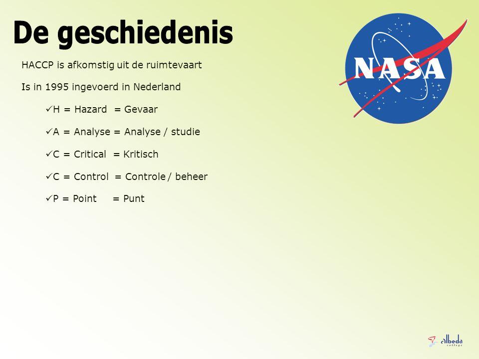 HACCP is afkomstig uit de ruimtevaart Is in 1995 ingevoerd in Nederland H = Hazard = Gevaar A = Analyse = Analyse / studie C = Critical = Kritisch C = Control = Controle / beheer P = Point = Punt