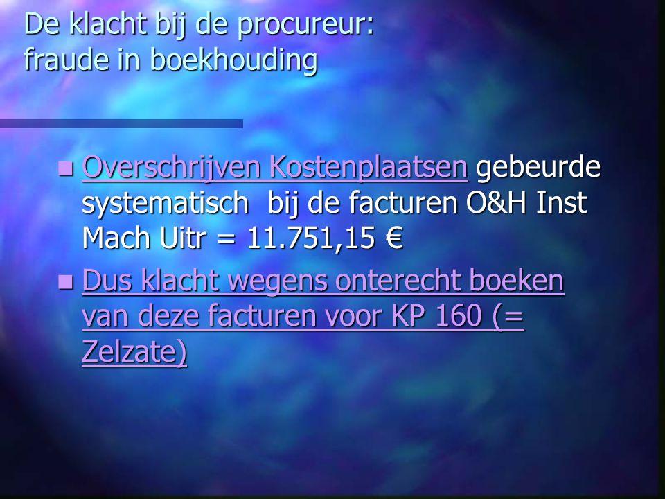De klacht bij de procureur: fraude in boekhouding Overschrijven Kostenplaatsen gebeurde systematisch bij de facturen O&H Inst Mach Uitr = 11.751,15 €