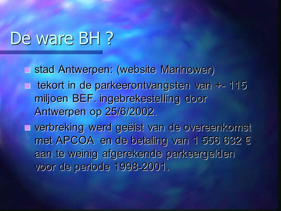 De ware BH ? stad Antwerpen: (website Marinower) stad Antwerpen: (website Marinower) tekort in de parkeerontvangsten van +- 115 miljoen BEF. ingebreke
