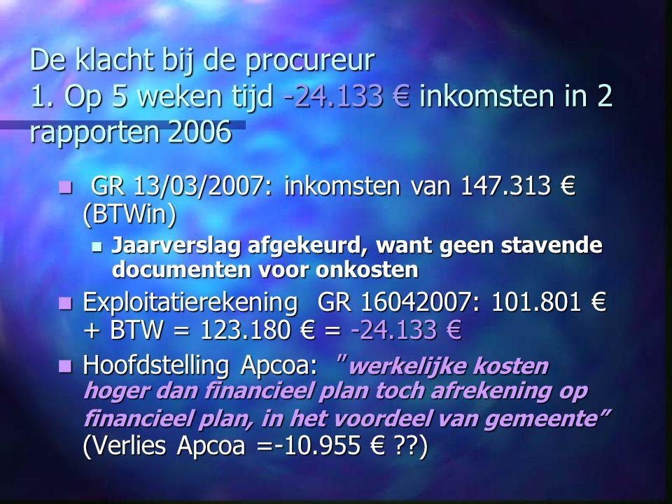De klacht bij de procureur 1. Op 5 weken tijd -24.133 € inkomsten in 2 rapporten 2006 GR 13/03/2007: inkomsten van 147.313 € (BTWin) GR 13/03/2007: in