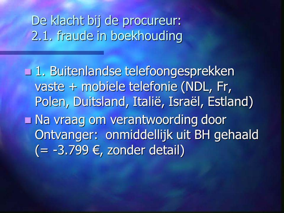 De klacht bij de procureur: 2.1. fraude in boekhouding 1. Buitenlandse telefoongesprekken vaste + mobiele telefonie (NDL, Fr, Polen, Duitsland, Italië
