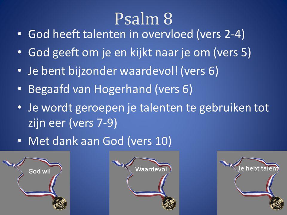 Psalm 8 God heeft talenten in overvloed (vers 2-4) God geeft om je en kijkt naar je om (vers 5) Je bent bijzonder waardevol.