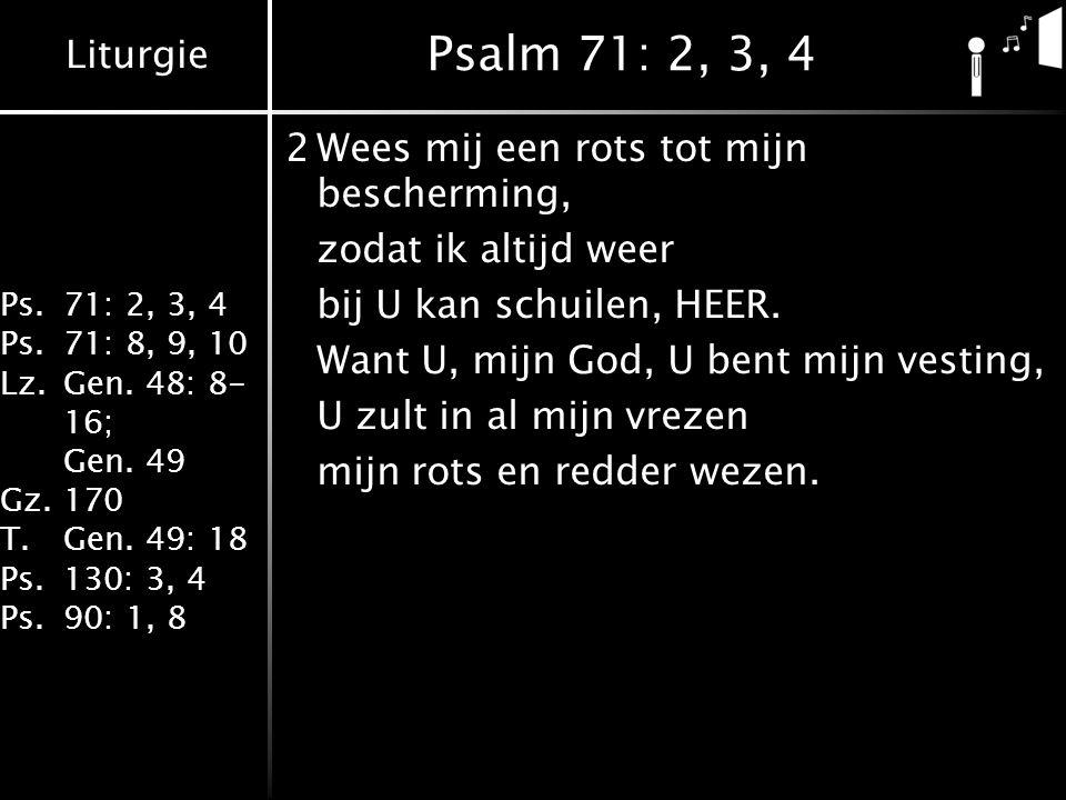 Liturgie Ps.71: 2, 3, 4 Ps.71: 8, 9, 10 Lz.Gen. 48: 8- 16; Gen. 49 Gz.170 T.Gen. 49: 18 Ps.130: 3, 4 Ps.90: 1, 8 Psalm 71: 2, 3, 4 2Wees mij een rots