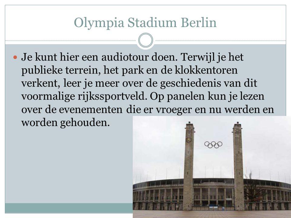 Olympia Stadium Berlin Je kunt hier een audiotour doen. Terwijl je het publieke terrein, het park en de klokkentoren verkent, leer je meer over de ges