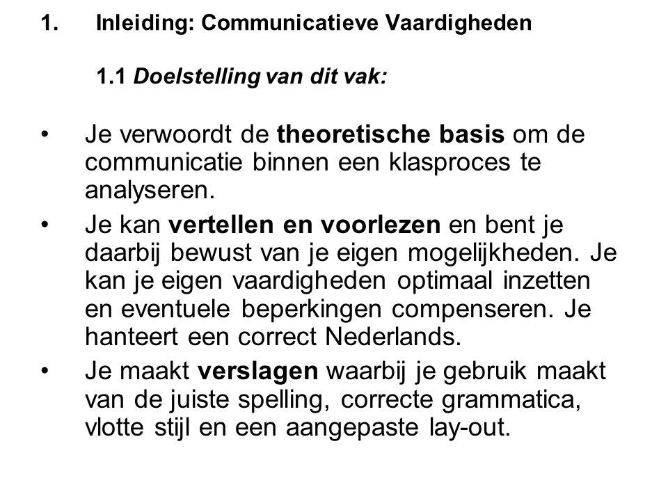 1.Inleiding: Communicatieve Vaardigheden 1.1 Doelstelling van dit vak: Je verwoordt de theoretische basis om de communicatie binnen een klasproces te