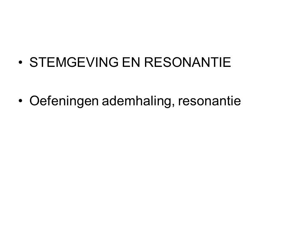 STEMGEVING EN RESONANTIE Oefeningen ademhaling, resonantie