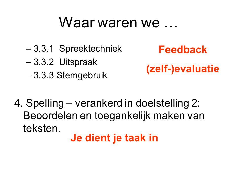 Waar waren we … –3.3.1 Spreektechniek –3.3.2 Uitspraak –3.3.3 Stemgebruik 4. Spelling – verankerd in doelstelling 2: Beoordelen en toegankelijk maken