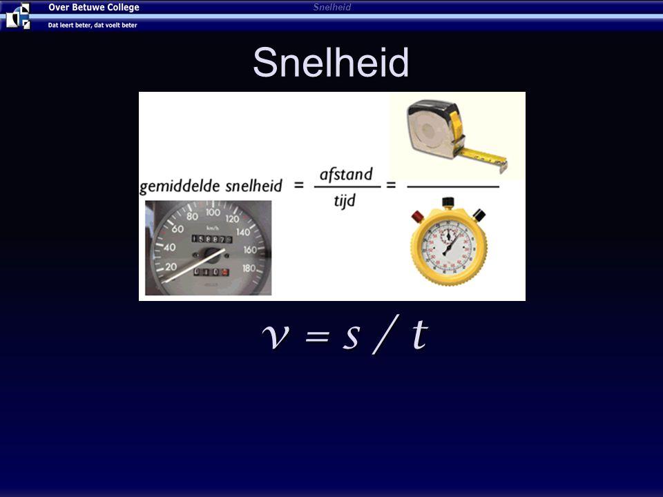 s = v x t Afstandsmkm Snelheidv gem m/skm/h Tijdtsh Formule: s = v gem x t s = 100 km t = 2 h v = 50 km/h Snelheid