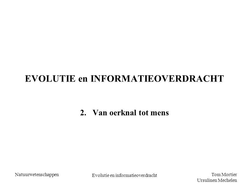 Tom Mortier Ursulinen Mechelen Natuurwetenschappen Evolutie en informatieoverdracht EVOLUTIE en INFORMATIEOVERDRACHT 2.Van oerknal tot mens
