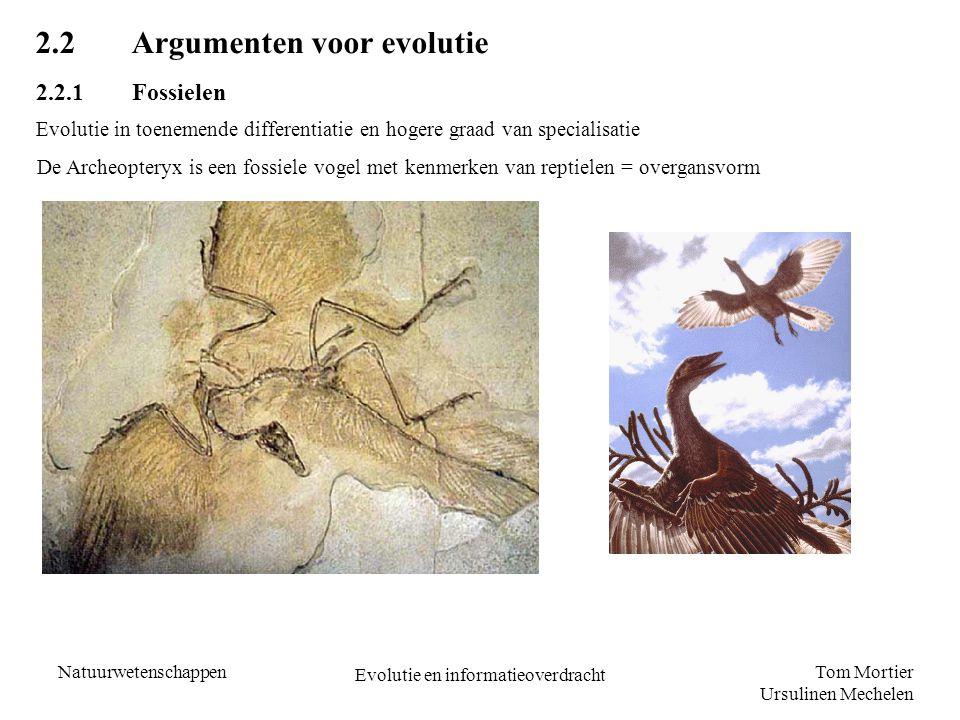 Tom Mortier Ursulinen Mechelen Natuurwetenschappen Evolutie en informatieoverdracht 2.2Argumenten voor evolutie 2.2.1Fossielen Evolutie in toenemende