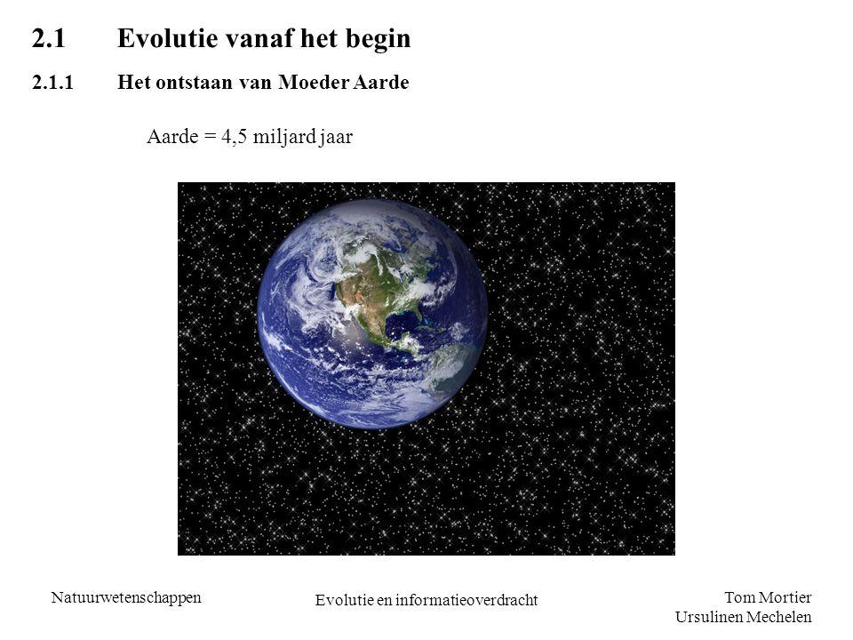 Tom Mortier Ursulinen Mechelen Natuurwetenschappen Evolutie en informatieoverdracht 2.1Evolutie vanaf het begin 2.1.1Het ontstaan van Moeder Aarde Aar