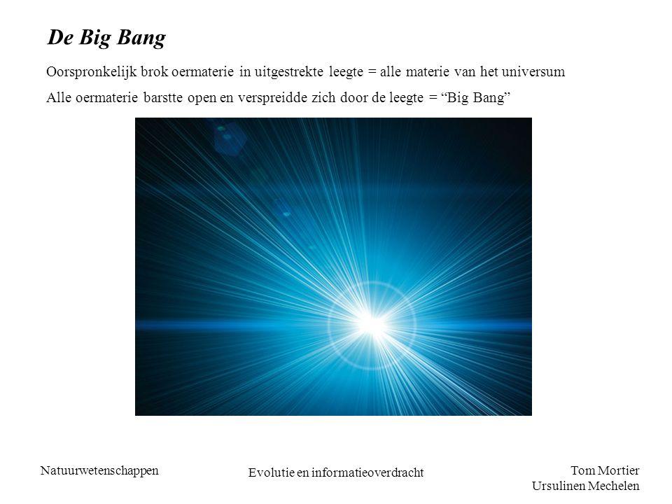 Tom Mortier Ursulinen Mechelen Natuurwetenschappen Evolutie en informatieoverdracht De Big Bang Oorspronkelijk brok oermaterie in uitgestrekte leegte